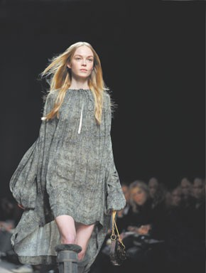 A new roomy shape from Stella McCartney: a dress in a muted abstract print.