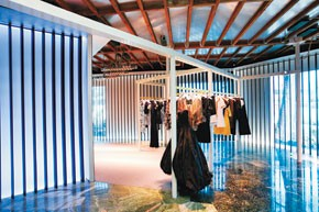 Looks inside and out of Balenciaga's L.A. shop.