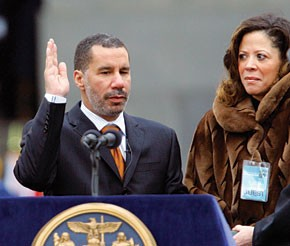 David Paterson takes the oath as Lieutenant Governor, with his wife, Michelle, looking on.