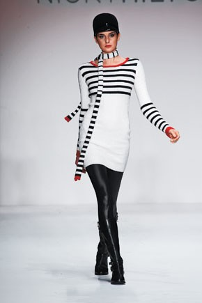 Nicholai: Nicky Hilton's equestrian-themed collection should be an easy ride at retail this fall. Here, her striped sweater dress and scarf.