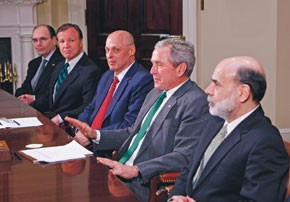 President Bush meets with economic advisers. From left: Jim Lockhart, Christopher Cox, Henry Paulson and Ben Bernanke.