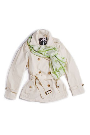 """Banana Republic's """"green"""" trench and scarf."""