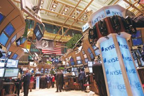 The trading floor at the New York Stock Exchange.
