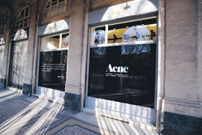Views of the Acne store in Paris.
