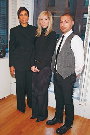 Sheri Wilson-Gray and Margie Connelly of Brown Shoe, with Leonello Borghi of Wathne.