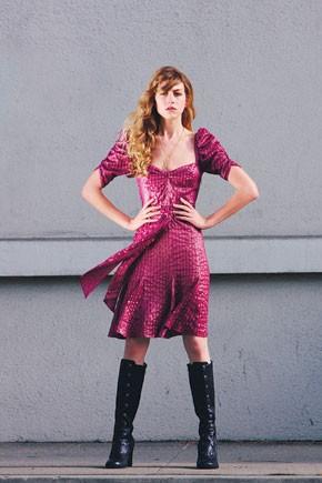 Jovovich-Hawk's silk and Lurex metallic dresses. Alex & Chloe necklaces; Frye boots.