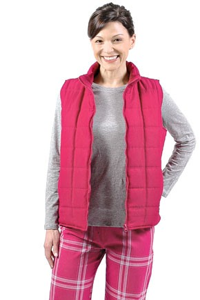 Casual Gear's cotton long-sleeve T-shirt, poly microfiber zip-front vest and cotton poplin drawstring pants.