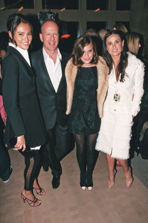 Emma Heming, Bruce Willis and Tallulah Willis with Demi Moore, in Chanel and Piaget jewelry.