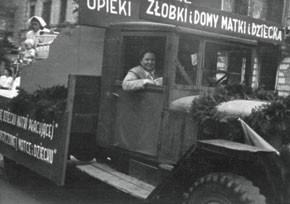 Irena Sendler in a Social Welfare Department vehicle in Warsaw in 1948.