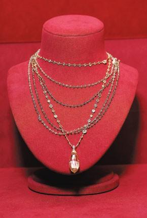 The $2.6 million champagne diamond briollette worn by Marion Cotillard.