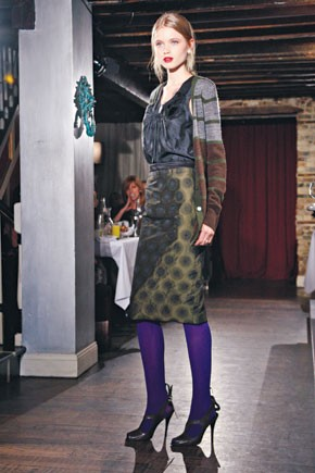 A fall look from Vera Wang Lavender Label, which will now add handbags.