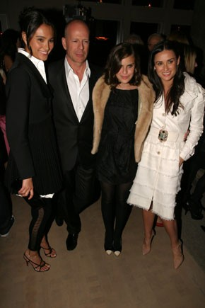 Emma Heming, Bruce Willis and Tallulah Wills with Demi Moore in Chanel and Piaget jewelry.
