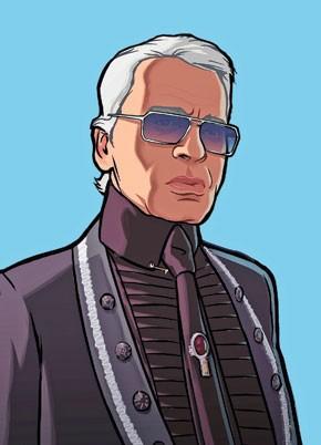 Rockstar Games' portrait of Karl Lagerfeld.