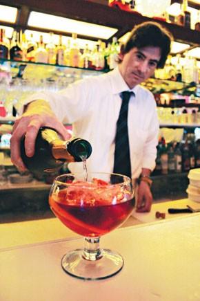 A negroni sbagliato, the signature drink at Milan's Bar Basso.