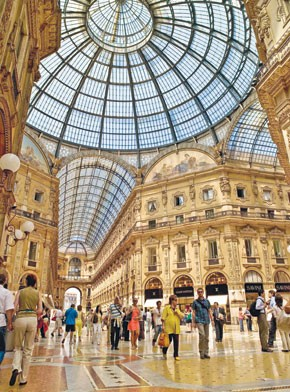 Milan's glass-domed Galleria Vittorio Emanuele II, built in the late 19th century.