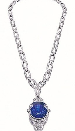 A diamond and sapphire necklace from Siegelson.