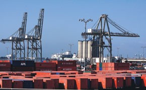 Cargo sits in the Port of Long Beach Thursday.