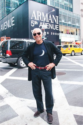 Giorgio Armani on Sunday in front of his Fifth Avenue flagship slated to open early next year.