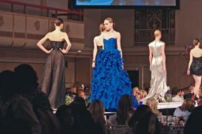 Eveningwear from Oscar de la Renta (center) Marchesa and Randi Rahm.