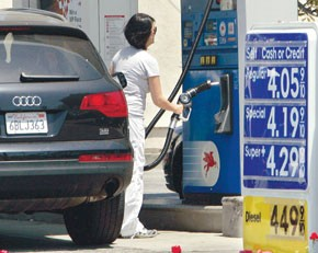 A customer pumps gas at a Mobil station in Los Angeles.