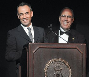 Francisco Costa and Philadelphia University president Stephen Spinelli Jr.