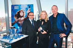 Clarins USA president and ceo Jonathan Zrihen, Naomi Watts and Joel Palix.