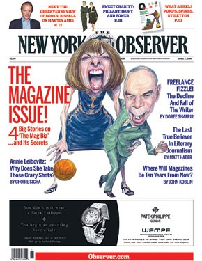 The April 7 issue of The New York Observer.