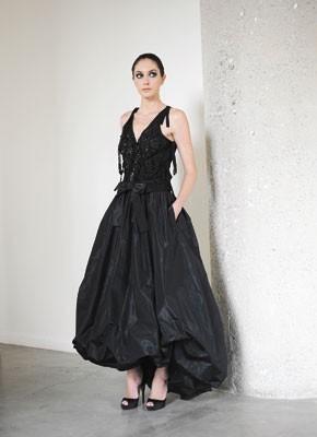 Silk taffeta skirt with embellished silk tulle vest.