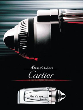 An ad for Cartier's Roadster fragrance.