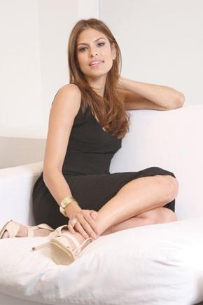 Eva Mendes at the Calvin Klein offices.