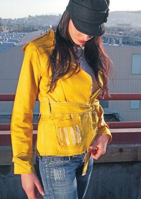 A yellow Italian denim jacket from Lola of San Francisco at Atelier Designers.