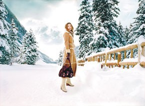 An ad from an Ugg campaign highlighting outerwear designed by Rozae Nichols.
