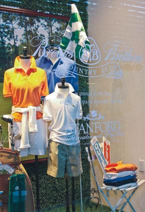 A Brooks Bros. window display in Bal Harbour, Fla., promoting the recent LPGA ProAm.