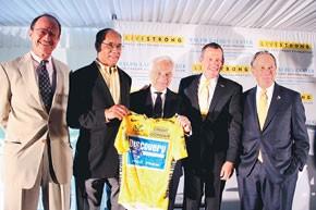 Harold Vargas, Harold Freeman, Ralph Lauren, Lance Armstrong and Mayor Michael Bloomberg.