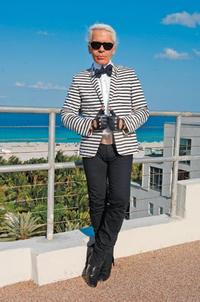 Karl Lagerfeld at The Raleigh hotel in Miami.