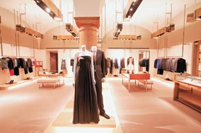 A view inside of Gucci's Prague store.