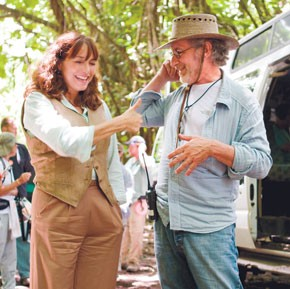 """Karen Allen and Steven Spielberg on the set of """"Indiana Jones and the Kingdom of the Crystal Skull."""""""