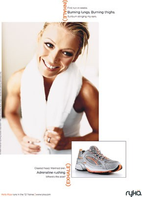An ad image for Kelly Ripa's Ryka line.