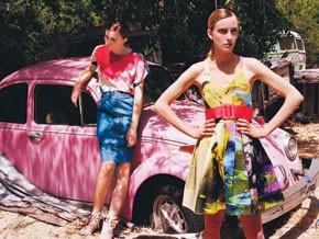 LEFT: Deener's cotton denim skirt and Whitley Kros' silk blouse.; RIGHT: Ksubi's cotton denim dress. Nikki Jaggs belt.