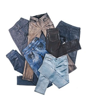 Clockwise from upper left: Goldspun's denim jeans.; Goldsign's cotton and spandex jeans.; Earnest Sewn's cotton and elastane jeans.; Anlo's cotton and polyurethane jeans.; The Proportion of Blu's cotton and elastane jeans.; Pepe Jeans' cotton and...
