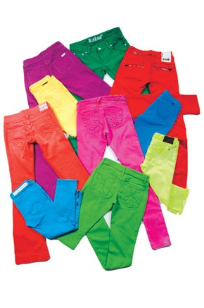 Clockwise from upper left: Jae's D's cotton and Lycra spandex jeans.; Blue Blood's cotton and elastane jeans.; G-Star's cotton ; Freedom of Choice's; Chip & Pepper's cotton and spandex jeans.; 4 Stroke's cotton and Lycra jeans.; Habitual's cotton and...