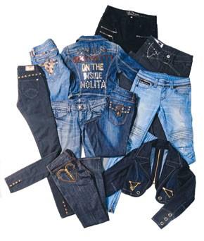 Clockwise from upper left: Taverniti So's cotton denim jeans.; Nolita De Nimes' cotton and elastane jacket.; Jordache's cotton and spandex jeans.; Girbaud's cotton and elastane jeans.; Pratts Motor Spirit's cotton and spandex jeans.; Akademiks' cotton...