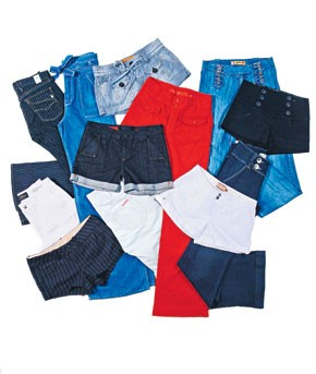 Clockwise from upper left: Agave's cotton and polyurethane jeans.;  J Brand's cotton denim jeans.; Dittos' cotton and polyester shorts.; YMI's cotton, polyester and spandex shorts.; Tyte's cotton denim jeans.; Paige Premium Denim's cotton and spandex...