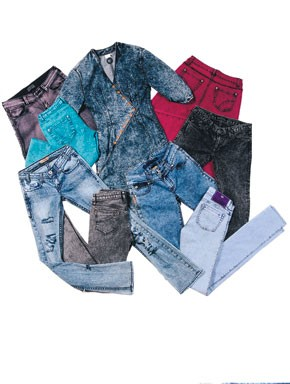 Clockwise from upper left: Kill City's cotton and spandex jeans.; Gsus Sindustries' cotton dress.; Vanilla Star's cotton; Rock & Republic's cotton and spandex jeans.; dVb's cotton and spandex jeans.; Bubblegum's cotton and spandex jeans.; Corpus'...