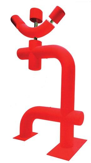 "Andre Courreges' ""Red Man"" sculpture."