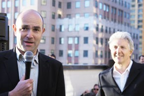 Wired editor in chief Chris Anderson with magazine founder Louis Rossetto at the 15th anniversary party.