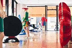 Inside Pierre Cardin's furniture shop.