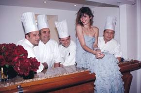 Lou Doillon and the chefs at Eden Roc.