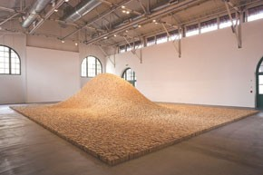 Nature goes indoors with Maya Lin's wooden knoll at the Museum of Contemporary Art San Diego.