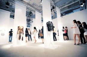 Views of Maison Martin Margiela's exhibit in China.